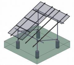 Tamarack Solar 90088 Ground Mount 4 Module Add-On Column Kit for use with 3.1 inch Rail
