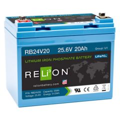 Relion RB24V20 Lithium Iron Phosphate Battery 20Ah 24VDC