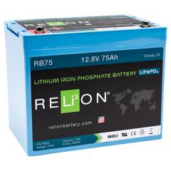 Relion RB75 Lithium Ion LiFePO4 Battery 12V 75Ah