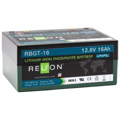Relion RBGT-16 Lithium Iron Phosphate Golf Trolley Battery 16Ah 12VDC