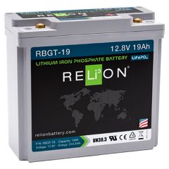 Relion RBGT-19 Lithium Iron Phosphate Golf Trolley Battery 19Ah 12VDC
