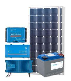 RV Solar Kit Turnkey System - 360W Solar Array, 1200VA 12V Victron, 12V Phoenix, 100Ah Discover Lithium, Wiring & Breakers