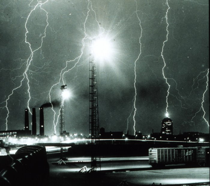 Lightning storm over Boston, 1967
